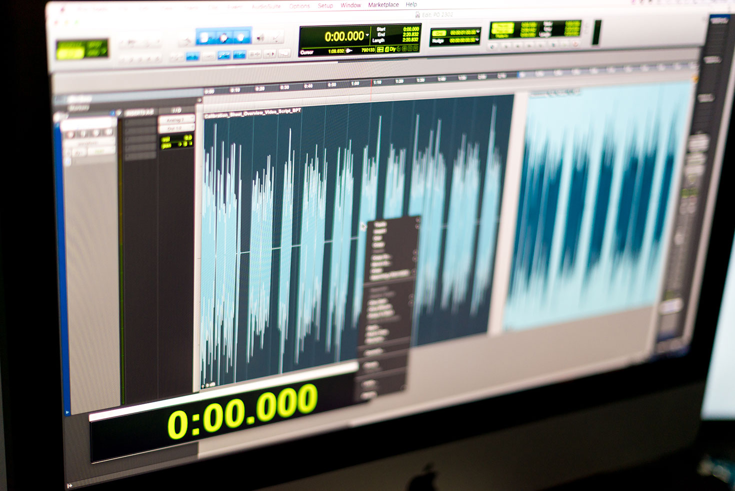 Pro Tools screen shows the audio waves of a voiceover.